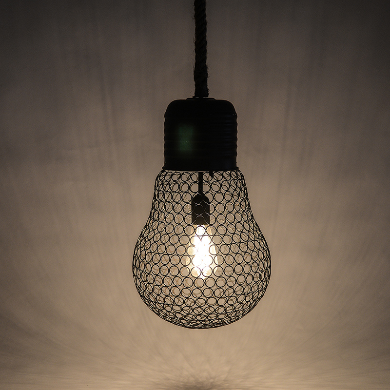 Loft Vintage Industrial E27 Edison Wrought Iron Metal Hemp Rope Reticulation Pendant Lights Lamp For Restaurant Bar Cafe Shop loft industrial vintage edison wrought iron metal net led pendant lights lamp for cafe store shop hall dining room bedroom bar