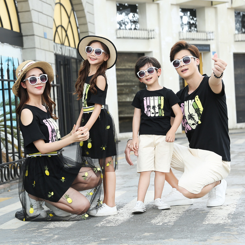 Summer Family Set Mother Daughter Black Mesh Dresses Father Son Cotton T Shirt+Shorts  Family Look Parent-Child Set Couple Sets