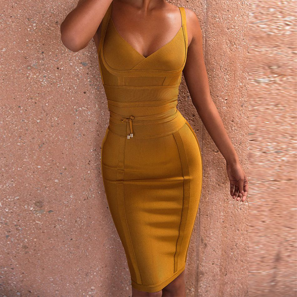 2017 Newest Winter Bandage Dress Women Celebrity Party Spaghetti Strap V-Neck Runway Sexy Dress Women Bodycon Vestidos Wholesale
