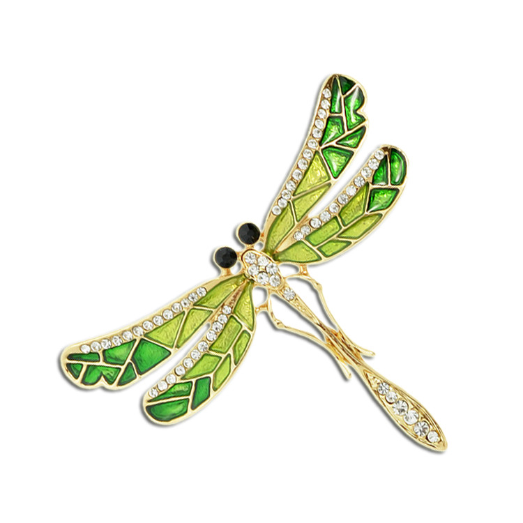 Insect Dragonfly Enamel Brooches For Women Crystal Green