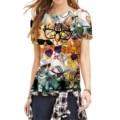 Women Tops Printed Colorful Sunglasses Cats T-shirt Summer Harajuku O-Neck Short Sleeve T Shirt