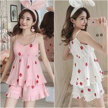 With chest pad strap pajamas summer cute sweet ladies new home service suit comfortable breathable multi style