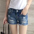 New Women Casual Summer Basic denim Shorts Hollow out jeans cowboy hole pocket worn-out zipper Plus Size