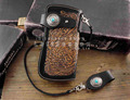 Biker Leather Carved Snap Long Chain Wallet Hand made LeatherCraft