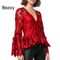 High Quality Women Blouse 2019 Spring New Year Red Shirt Women V neck Hollow out Flare Sleeve Ruffle Lace Blouse Ladies tops