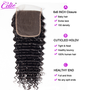 Image 3 - Celie Hair 6x6 Lace Closure Brazilian Deep Wave Closure Pre Plucked Remy Swiss Lace Human Hair Closure Bleached Knots 10 20 inch