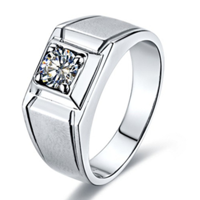 1CT Scrub Style Men Ring Simulate Diamond Jewelry Male Engagement