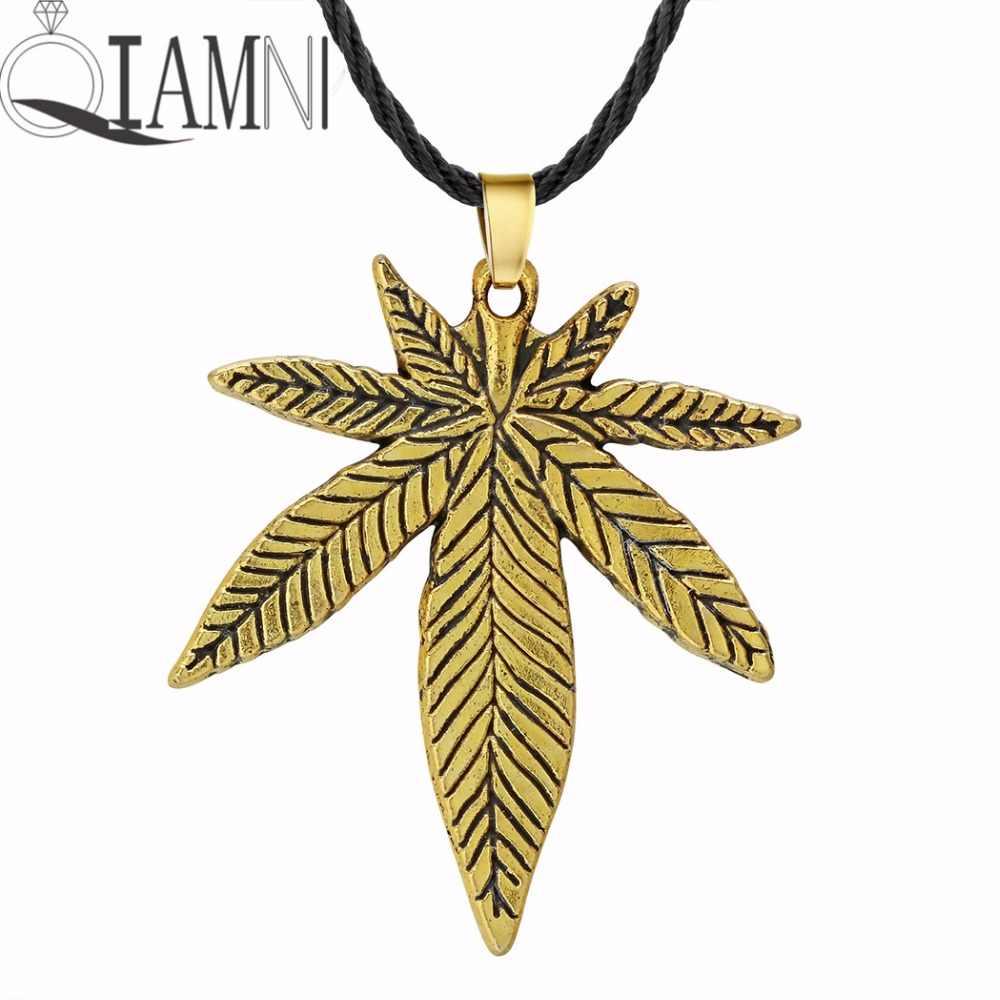 QIAMNI פאנק שרשרת עלה אדר עלה Fimble קנבוס גדול עלים עלווה עשב עץ צמחים אפריקאים תכשיטי גברים שרשרת תליון קסם