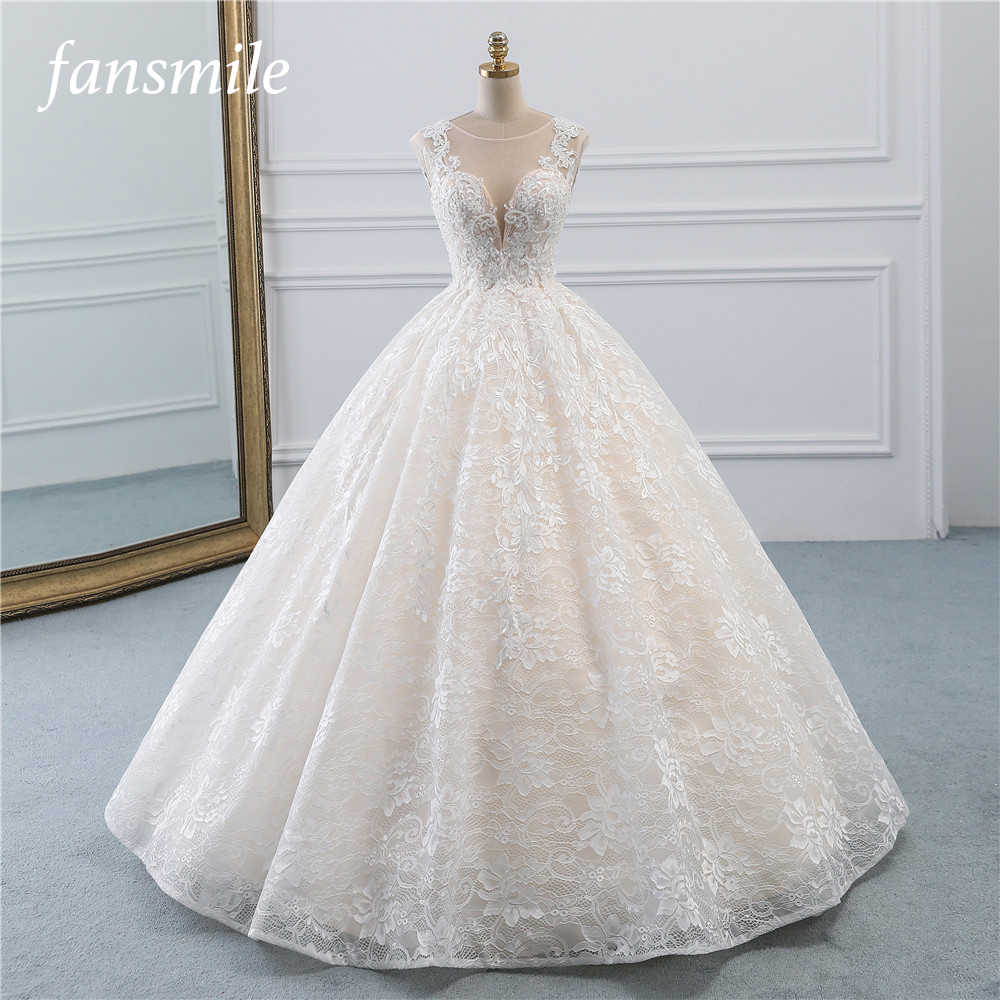 Fansmile New Vestidos de Novia Vintage Ball Gown Tulle Wedding Dress 2019 Princess Quality Lace Wedding Bride Dress FSM-522F
