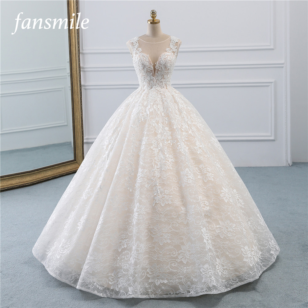 Fansmile New Vestidos De Novia Vintage Ball Gown Tulle Wedding Dress 2020 Princess Quality Lace Wedding Bride Dress FSM-522F