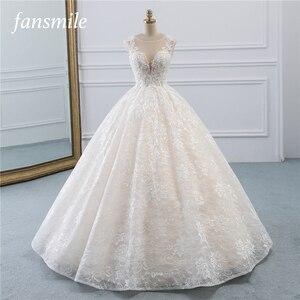 Image 1 - Fansmile New Vestidos de Novia Vintage Ball Gown Tulle Wedding Dress 2020 Princess Quality Lace Wedding Bride Dress FSM 522F