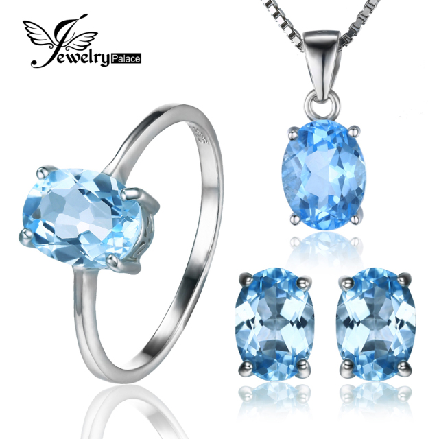 A Wonderful Set Of 1.5ct Topaz 925 Sterling Silver Ring + 1.8ct Topaz 925 Sterling Silver Earrings + 2.3ct Topaz Pendant 925 Sterling Silver Necklace