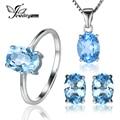 Jewelrypalace oval natrual 5.8ct anillo de topacio azul aretes collar colgante de plata de ley 925 sistemas de la joyería 45 cm cadena de caja
