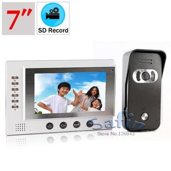 video recording doorphone system 7inch video intercom two way talk door bell 700tvl color night vision camera