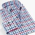 Inteligente Cinco Brannd Ropa de Algodón Para Hombre Camisas de Manga Larga Casual Patrón a cuadros Camisas Slim Fit Camisa de los hombres Grandes del Tamaño 5XL 6XL