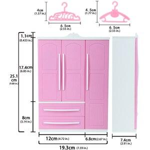 Image 3 - Armoire à poupée rose mignonne, 1 pièces + cintres mixtes de 10 pièces, Mini placard de princesse, accessoires de meubles pour jouets de poupée Barbie
