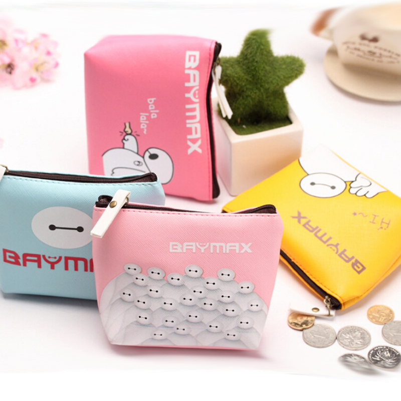 New casual  PU leather cute warm character  BAYMAX coin  purse  bag key cases for unisex zipper mini  wallets 14*11cm free shipping nio t6t 1w 6w stereo audio fm amplifier kit professional transmitter with tf card