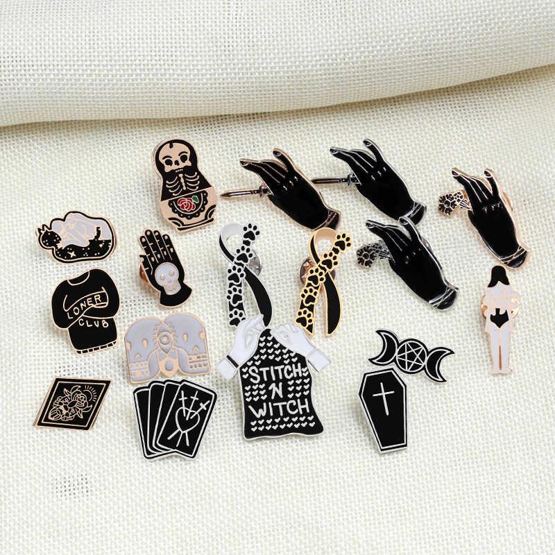 Kreatif Penyihir Hitam Peti Mati Kartu Pakaian Dasi Bros Kucing Cakar Enamel Pin Tangan dengan Rose Belati Pria Jaket Kerah Pin perhiasan