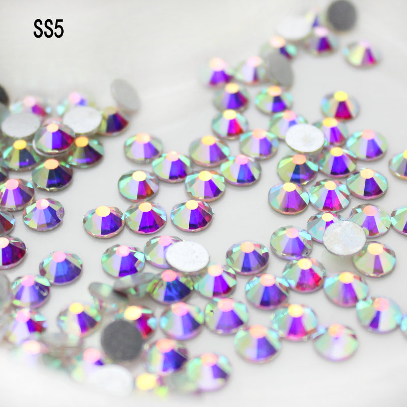 a71c2fec1b US $2.37 39% OFF QIAO SS5 (1.7 1.9mm) Crystal AB Gem Flat Back Nail Art  Glue On Non Hotfix Rhinestones For Nail Art-in Rhinestones from Home &  Garden ...