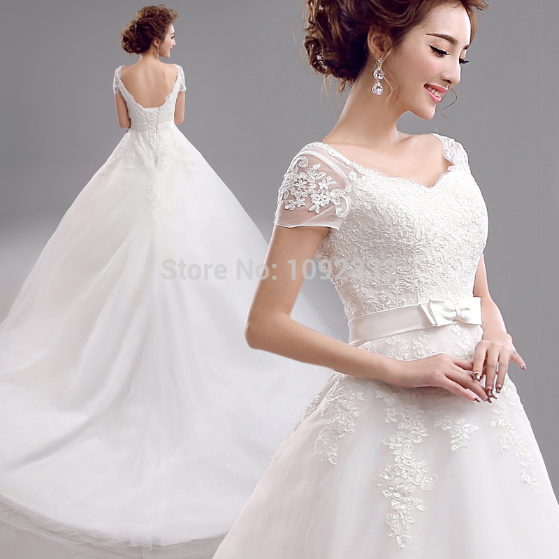 s 2016 new stock plus size bridal gown wedding dress  Korean Lace Large Tail Wedding Dresses Spring long 2847