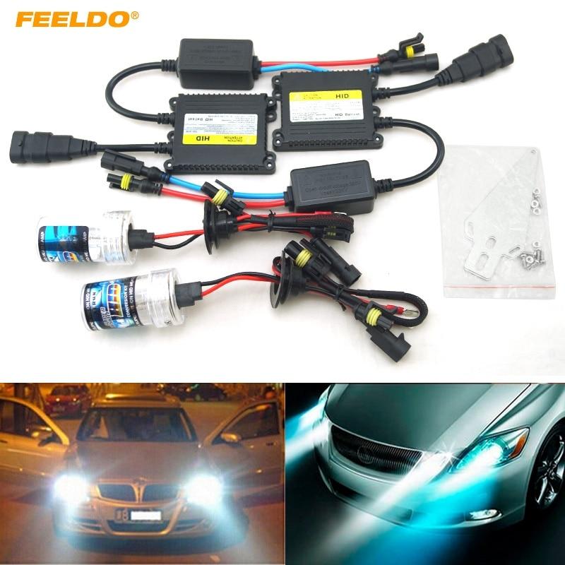 FEELDO 1Set 35W AC 12V H1/H3/H7/H8/H10/H11/9005/9006 Xenon HID Kit Car Headlight Xenon Bulb Lamp Digital Ballast цена 2017
