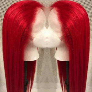 Image 4 - Bombshell Red Long Straight Synthetic Hand Tied Lace Front Wigs Glueless Heat Resistant Fiber Hair Natural Hairline For Women