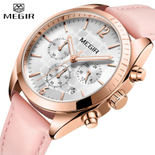 цена на MEGIR Women Watches Top Brand Luxury Female Clock Montre Femme 2019 Fashion Pink Quartz Ladies Watch Lover Gift Relogio Feminino