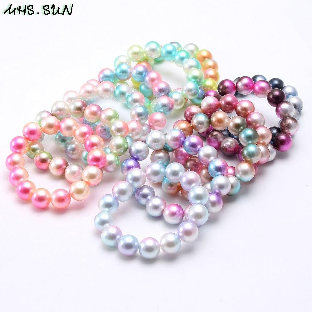 MHS.SUN Girls kids round beaded bracelets fashion elastic pearls bracelets&bangles for child jewelry gift handmade 1pc/lot