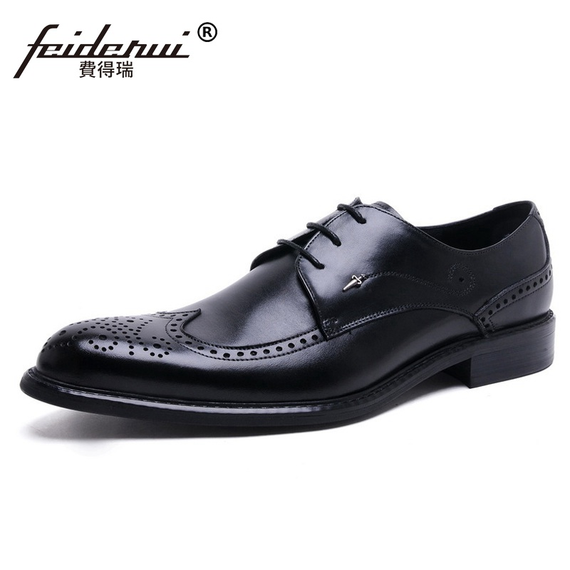 British Style Derby Man Carved Formal Dress Shoes Vintage Genuine Leather Oxfords Round Toe Men's Wing Tip Brogue Flats TH29 ruimosi british style brand man formal dress shoes vintage genuine leather brogue oxfords pointed toe men s wing tip flats ce38