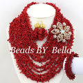 Newly Designed African Costume Jewelry Sets Gold Plated Red Coral Beads Jewelry Sets Wedding Jewelry Sets Free Shipping ABS068