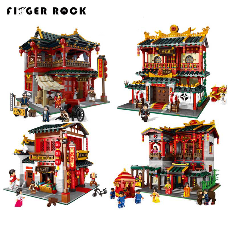 Finger Rock 01001-01004 2000pcs+ Chinese Traditional Architecture Model Building Blocks Martial Arts LegoINGLYs Bricks Toys wood in traditional architecture