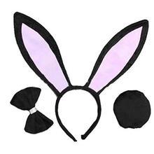 FEECOLOR 12set Bunny cosplay Woman Girls Rabbit Ears Headband Tail Bow Tie для рождественской сценической постановки Хэллоуин