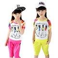 Детская одежда девочек детей-наборы лето 2016 новых детям с коротким рукавом цветы спортивный костюм одежда большие девочки мода twinset