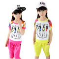 Children's clothing girls child sets summer 2016 new kids short-sleeve flowers sports suit  clothes big girls fashion twinset