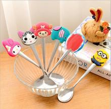 1pc Kawaii Cartoon Cute Animal Stainless Steel Tea Coffee Spoon Kitchen Tableware Action Figure Model Toy