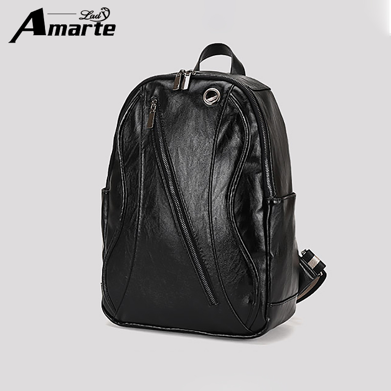 2018 Amarte Backpack Men Fashion Leather Backpacks Waterproof Bag College Teenager SchoolBag Laptop Backpack Famous Brand
