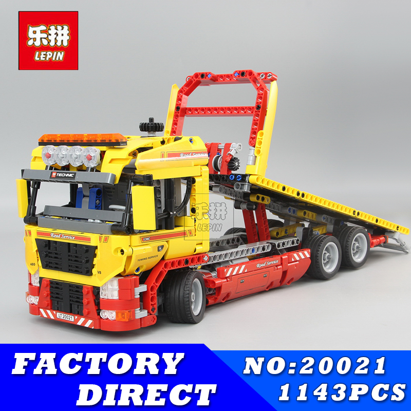 Lepin 20021 Technic series Flatbed Truck Model DIY Building Blocks set Compatible 8109 Classic Car Styling Toys for children lepin 21010 914pcs technic super racing car series the red truck car styling set educational building blocks bricks toys 75913