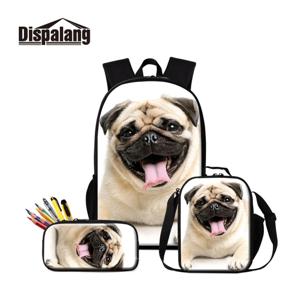 Pug Dog Printed School Bag with Cooler Pen Bags Set for Children Cute Book Bag Satchel