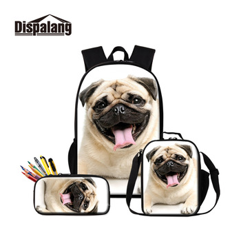 Pug Dog Printed School Bag with Cooler Pen Bags Set for Children Cute Book Bag Satchel Girls Lovely Backpack Pattern Pencil Case