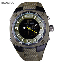 BOAMIGO Mens Watches Top Brand Luxury Sport Military Quartz Dual Display Digital Waterproof Watch High Quality New Arrival 2019