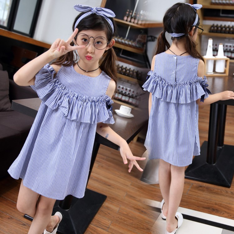 summer toddler Girl striped Dresses Baby girl off-the-shoulder dress Kids girls Dress child clothing children clothes +head band