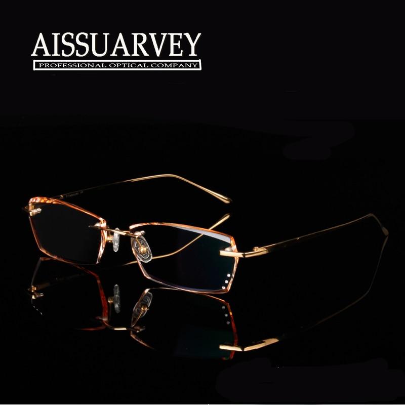 Rimless Glasses High Prescription : Pure titanium eyeglasses frame optical glasses rimless ...