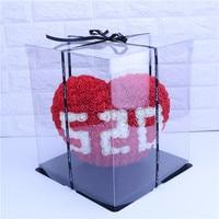 28*25cm Creative PE Love Shape Flowers Head Decoration Wedding Holiday Party Girl Birthday 520 Rose Heart shaped Gift Box
