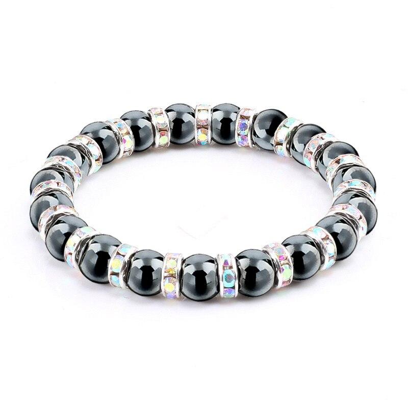 Men Women Yoga Bracelet Colors Mixed Healing Reiki Prayer Mala Balance Hematite Stone Beads Bracelet Bangles Rhinestone Jewelry Браслет