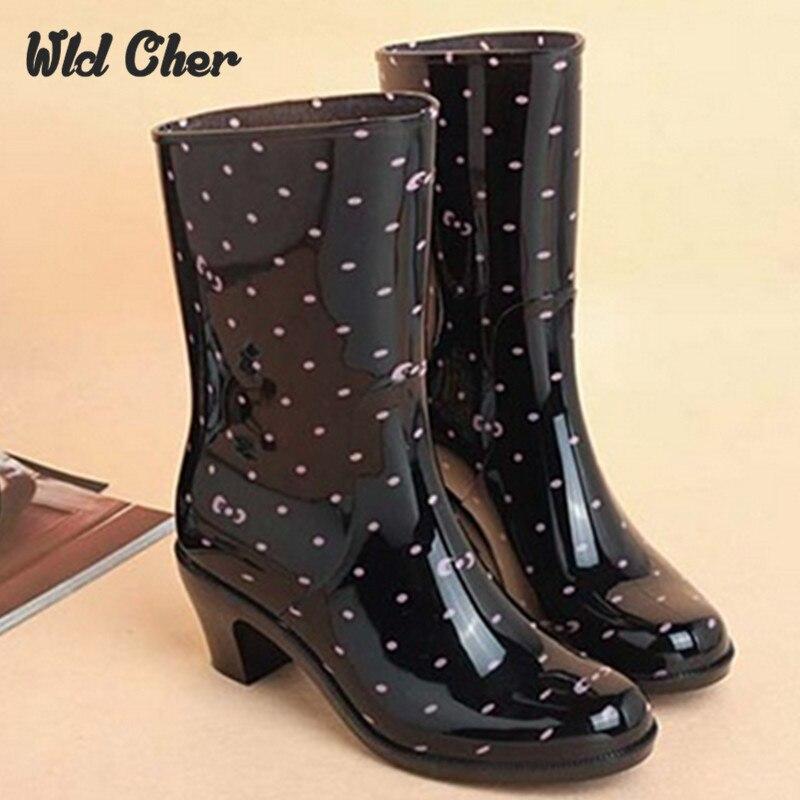 Rain Boots Women Waterproof Shoes  Rubber Boots High Heel Rainboots Plus Size Botines Mujer Femininas Botas De Lluvia 2017
