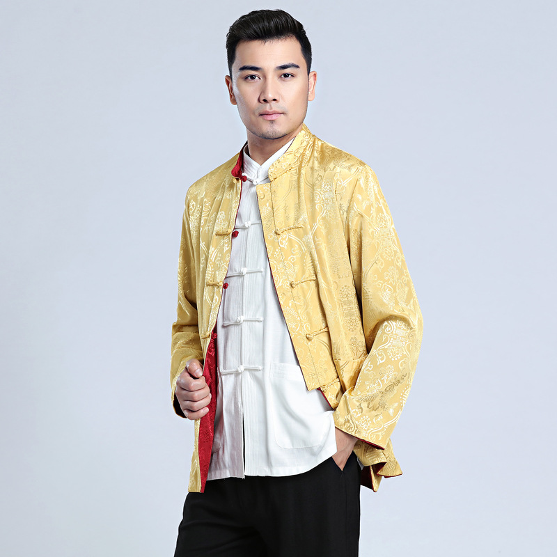 Chinese Traditional CostumeDouble Face Jacket Men Silk Satin Kung Fu Coat SZ S 3XL in Tops from Novelty Special Use