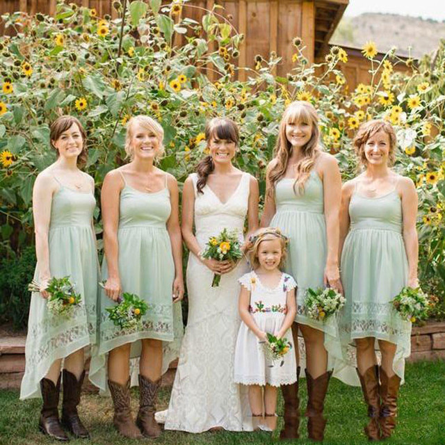 Sage Green High Low Country Style Bridesmaid Dresses 2017 Spaghetti Strap Chiffon Junior Maid Of Honor