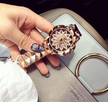 2017 New Women Watch Stainless Steel Watches Lady Shining Rotation Dress Watch Big Diamond Stone Wristwatch Lady Rose Gold Watch