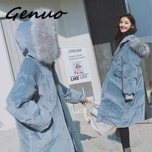 Genuo New Women Woolen Coat Leisure Womens 2019 Solid color Hooded Fur collar Winter Medium long Large size
