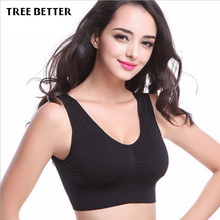 Top Breathable Thin Women Padded Tank Athletic Vest Gym Fitness Sports Bra Running Stretch Cotton Seamless